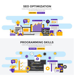 Flat design concept banners - seo optimization vector