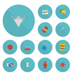 Flat icons skein needle pincushion and other vector