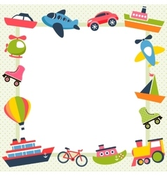Frame with colorful transport icons vector