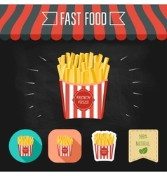 French fries icon on a chalkboard Set of icons vector image