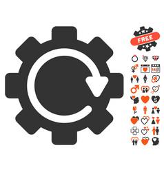 Gear rotation direction icon with love bonus vector
