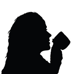 girl holding a cup from which drinking vector image