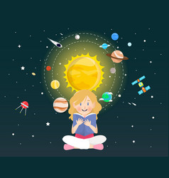 girl reading a book about universe vector image