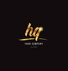 Gold alphabet letter hq h q logo combination icon vector