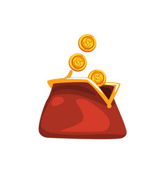 golden dollar coins falling in red retro purse vector image