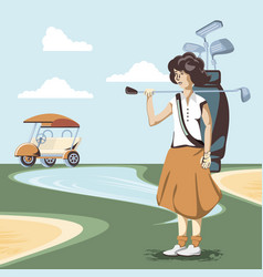 Golf player woman in the course vector
