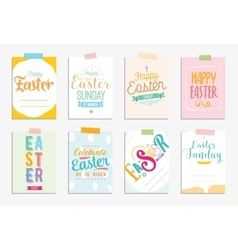 Happy Easter cards set typography with vector