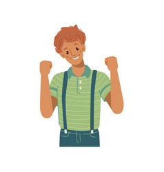 Happy kid gesturing and celebrating victory vector
