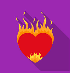 Heart in flame icon in flat style isolated on vector