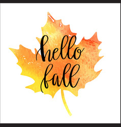 hello fall hand lettering phrase vector image
