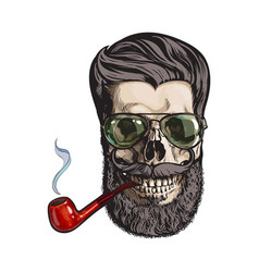 Human skull with hipster beard wearing aviator vector