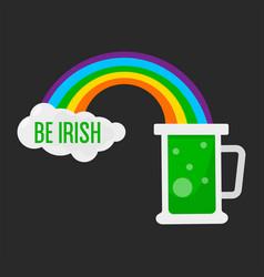 irish symbol saint patrick day beer and rainbow vector image