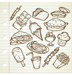 Junk Foods Doodle vector image