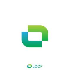 Loop square box letter o logo nature logo concept vector