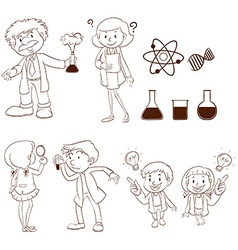 Male and female scientists vector