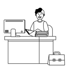 man in a desk black and white vector image