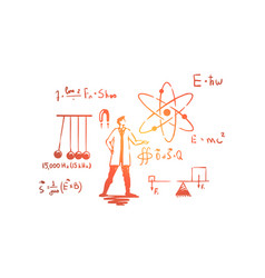 man in white coat science experiment vector image