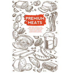 meat butchery shop beer in mug beef and pork vector image