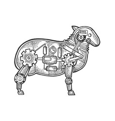 Mechanical sheep ewe animal sketch engraving vector