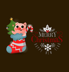 Merry christmas and happy new year of pig with vector
