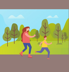 mother and son jogging in park among green trees vector image