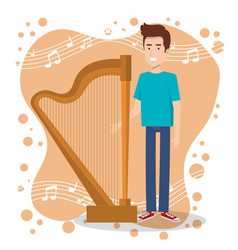 music festival live with man playing harp vector image