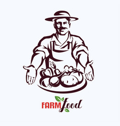 natural products farm food stylized symbol vector image