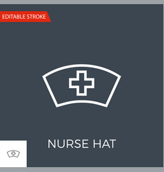 nurse hat thin line icon vector image