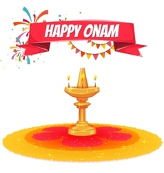 Onam sale banner with ribbon vector image