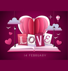 open fairy tale book with valentine love heart vector image