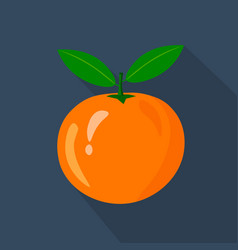 orange cartoon flat icondark blue background vector image vector image