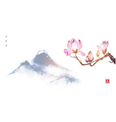 Pink magnolia flowers and far blue mountains vector