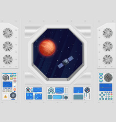 Planet and satellite through modern spaceship vector