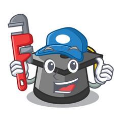 Plumber graduation hat mascot cartoon vector
