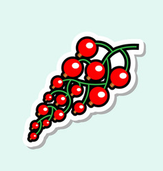 Red currant sticker on blue background colorful vector