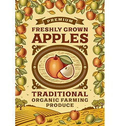 Retro apples poster vector image