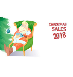 santa claus with tablet vector image