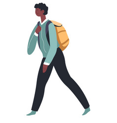 School boy with satchel walking pupil with bag vector