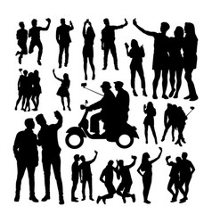selfie people silhouettes vector image