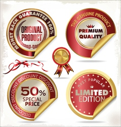 Set gold and red premium quality labels vector