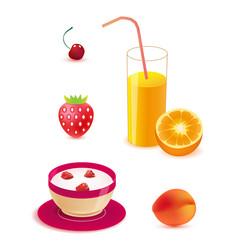 set healthy food breakfast vector image