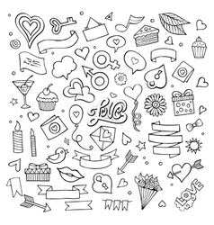 Set love doodle icons vector
