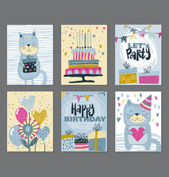 set of three happy birthday party cards vector image