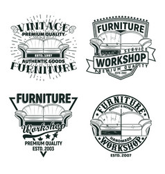set vintage furniture workshop emblems designs vector image