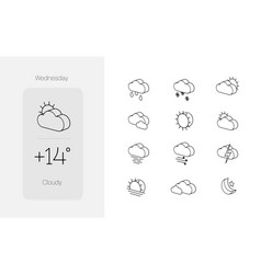 Set weather icons in modern 3d outline graphic vector