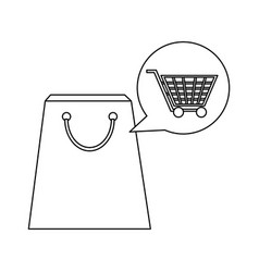 shopping bag with cart bubble in black and white vector image