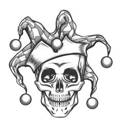 Skull in joker cap vector