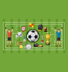 Soccer game banner horizontal cartoon style vector
