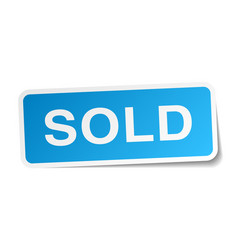 Sold blue square sticker isolated on white vector