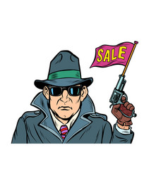 spy secret agent start sales isolate on white vector image